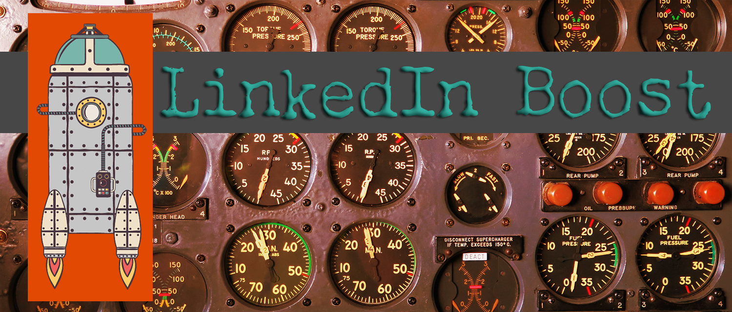 LinkedIn banner with cockpit dials behind it and an illustrated rocketship on the left.