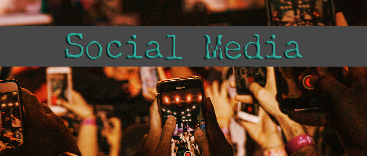 Social Media banner with background of many people holding up their phones to record something.