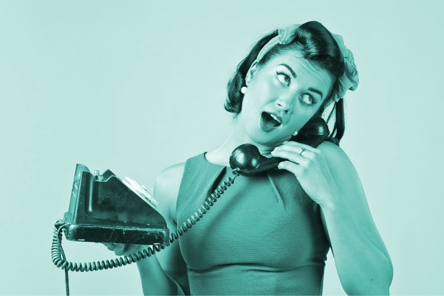 Testimonials for marketing showing a woman talking on an old fashioned rotary phone.