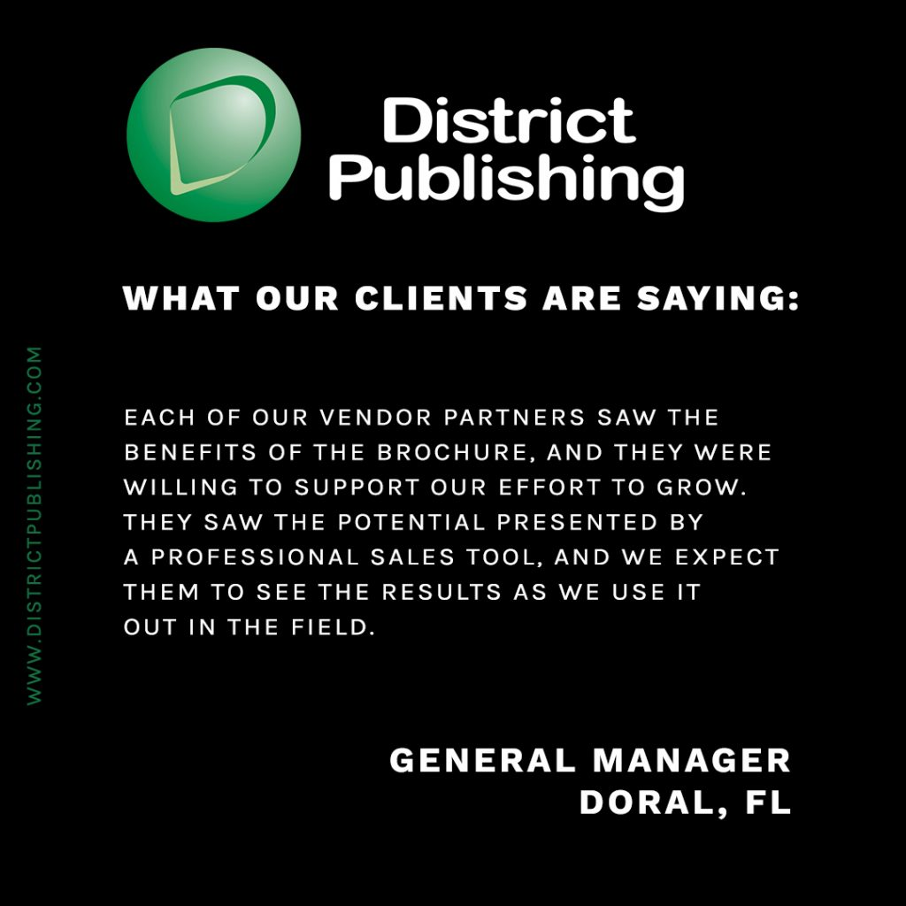 Testimonials for Marketing showing a testimonial for District Publishing